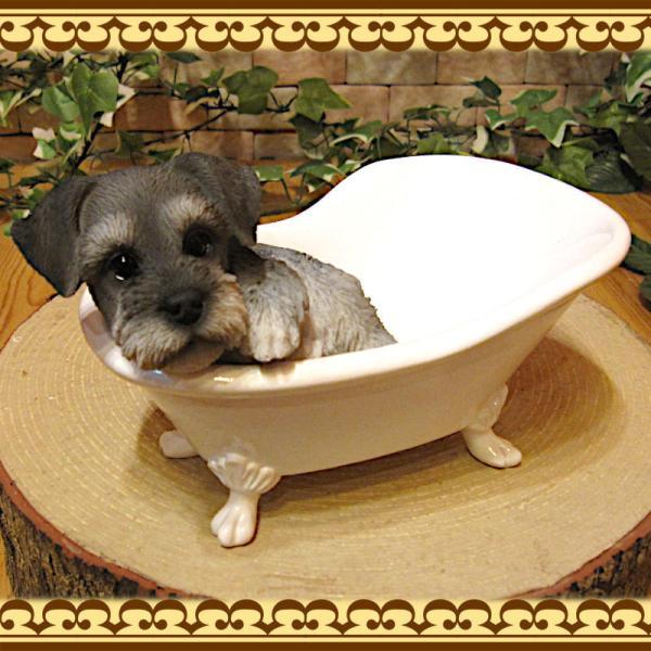 犬の置物 シュナウザー 置物 バスタブ ドッグ 入浴中 リアルな犬のフィギア 子いぬのオブジェ イヌ ガーデニング 玄関先 陶器|zakkakirara|04