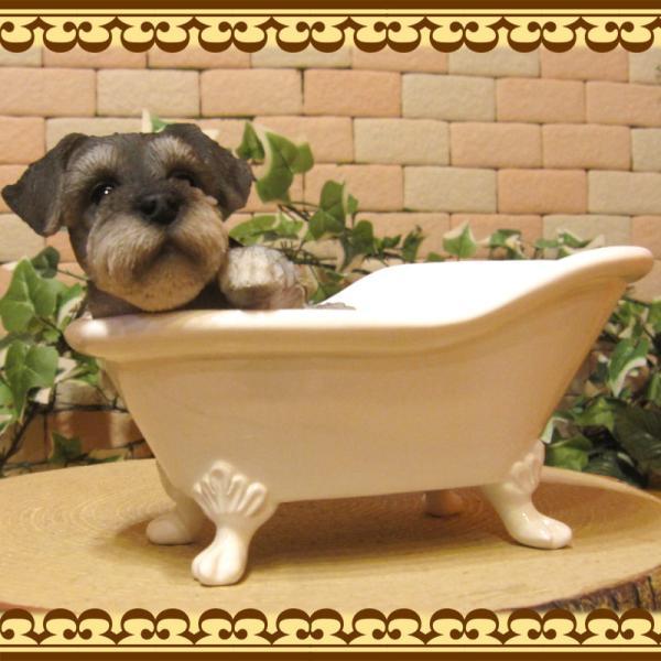 犬の置物 シュナウザー 置物 バスタブ ドッグ 入浴中 リアルな犬のフィギア 子いぬのオブジェ イヌ ガーデニング 玄関先 陶器|zakkakirara|06