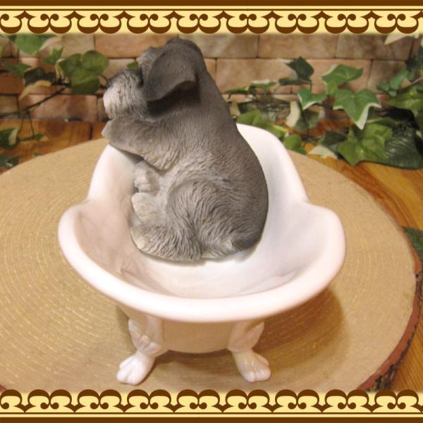 犬の置物 シュナウザー 置物 バスタブ ドッグ 入浴中 リアルな犬のフィギア 子いぬのオブジェ イヌ ガーデニング 玄関先 陶器|zakkakirara|09