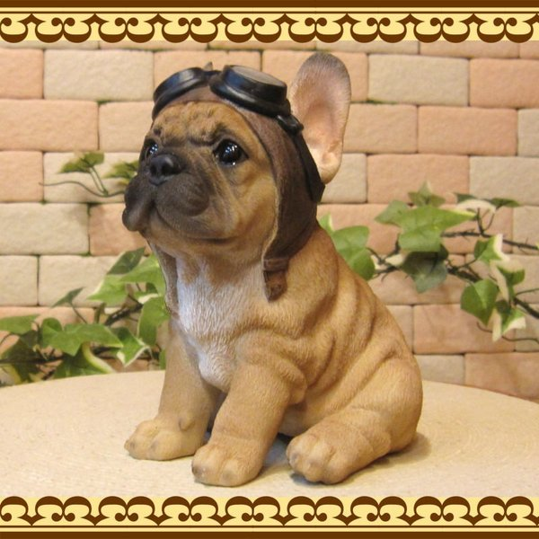 犬の置物 フレンチブルドッグ 置物 ダンディードッグ フレブル リアルな犬のフィギア 子いぬのオブジェ イヌ ガーデニング 玄関先|zakkakirara|03