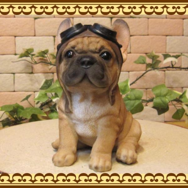 犬の置物 フレンチブルドッグ 置物 ダンディードッグ フレブル リアルな犬のフィギア 子いぬのオブジェ イヌ ガーデニング 玄関先|zakkakirara|07