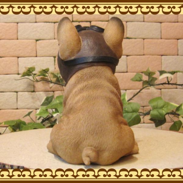 犬の置物 フレンチブルドッグ 置物 ダンディードッグ フレブル リアルな犬のフィギア 子いぬのオブジェ イヌ ガーデニング 玄関先|zakkakirara|09