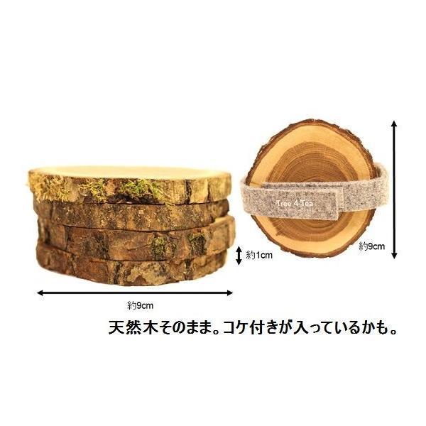 コースター セット 4枚 天然木 オーク材 オークウッド 輪切り Tree 4 Tea|zakkamag|02