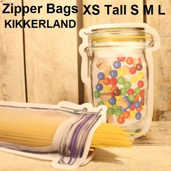 ジッパーバッグ キッカーランド 人気 おしゃれ 液漏れ防止 ジッパー メイソンジャー 種類 食洗機対応 Zipper Bags XS S M L Tall|zakkamag