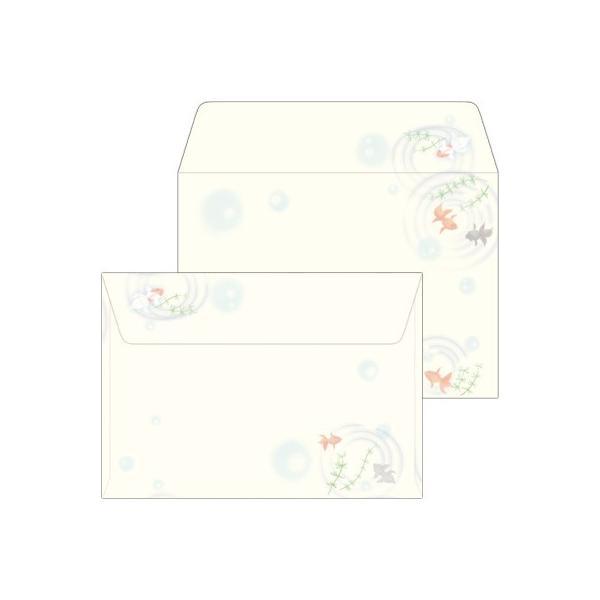 ササガワ(タカ印) はがき用 封筒 和柄 A5 金魚 10枚×5セット
