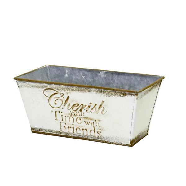 チェリッシュ スクエアポットS-IV  植木鉢 おしゃれ ブリキ 鉢カバー アンティーク 植木鉢カバー プランター