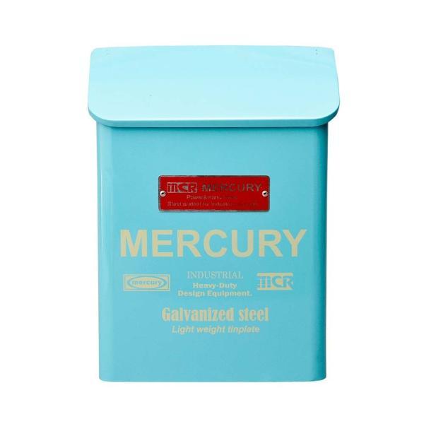 マーキュリー ポーチメールボックス ブルー MERCURY 郵便ポスト 壁付け アンティーク おしゃれ アメリカンポスト 郵便受け