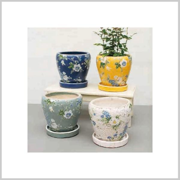 送料無料 鉢 植木鉢 プランター 花柄 おしゃれ ガーデンポット ブライトフラワープランターアソート(4柄×各1個)