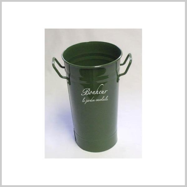 バケツ ブリキ おしゃれ フラワーポット ガーデンポット ごみ箱 傘立て 収納ボックス ボヌールフラワーカン 2L GREEN