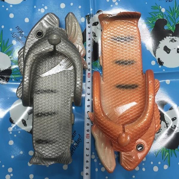 ぎょぎょぎょ!魚のビーチサンダル 23cm 23.5cm グレー系 レディース サカナ さかな ビーサン ビーチサンダル シーラカンス?実用性もバッチリ|zakkayakaeru|10