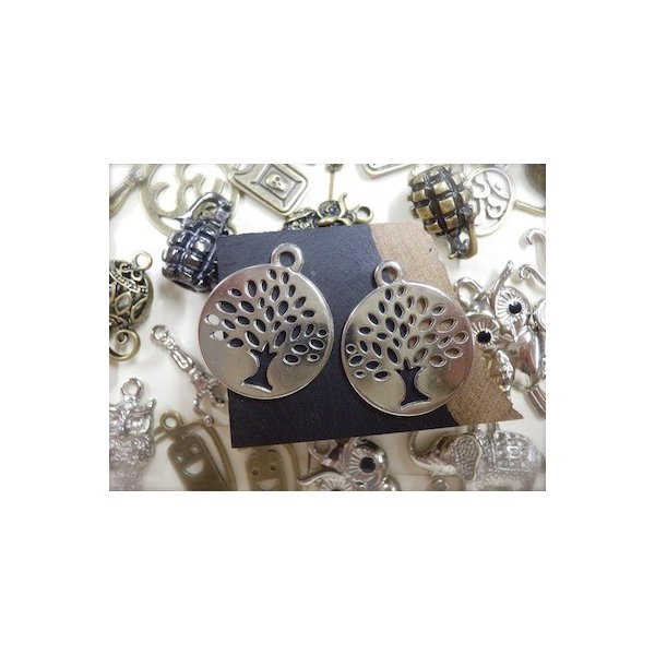 大きな木風 2ヶセット 銀 シルバーカラー  アクセサリーチャーム ハンドメイド パーツ エスニックパーツ add51884s|zakkayakaeru