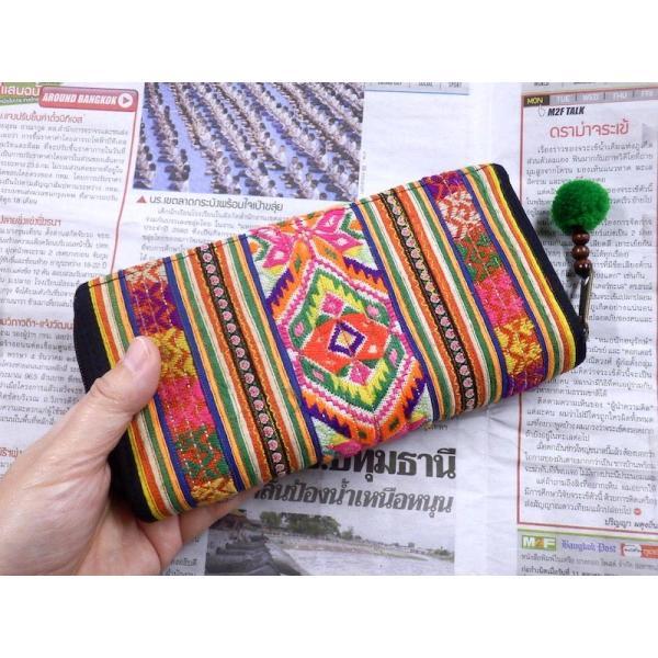 モン族古布長財布C エスニック アジア 男女共 少数民族布 カラフル 刺繍 マルチカラー zakkayakaeru