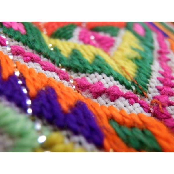 モン族古布長財布C エスニック アジア 男女共 少数民族布 カラフル 刺繍 マルチカラー zakkayakaeru 05