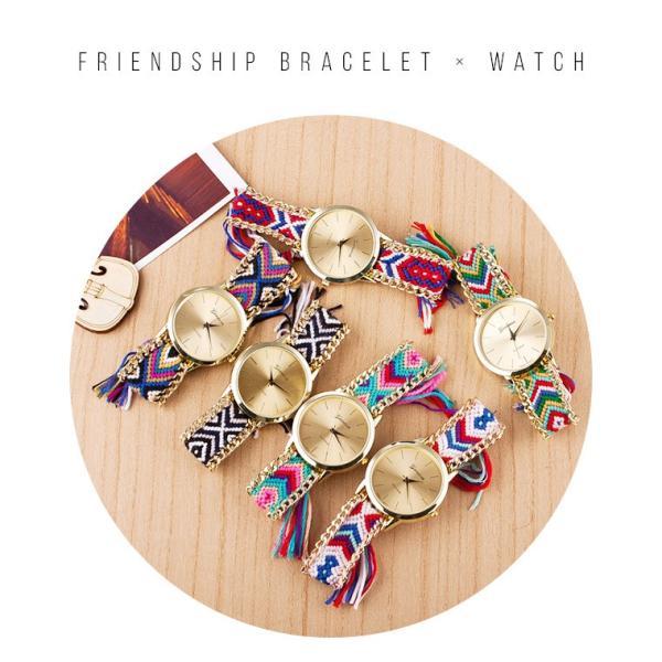 2本セット ミサンガ ウォッチ 腕時計  ブレスレット かわいい レディース ボヘミアン zakzak 02