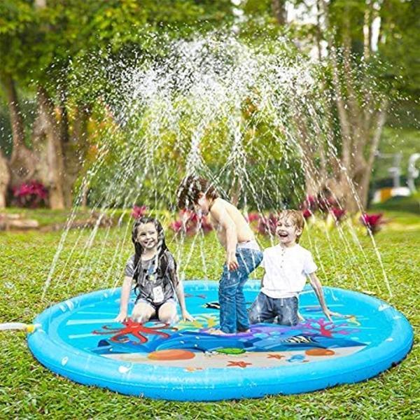 噴水マット プレイマット 噴水おもちゃ キッズ 水遊び 親子遊び プールマット アウトドア噴水池 庭の中に遊び 家族用 芝生遊び|zebrand-shop|02