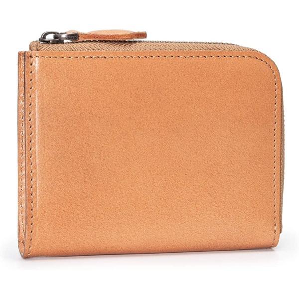 ポヨリー財布メンズL字ファスナー財布小さい本革小銭入れレディースコンパクト財布二つ折りミニ財布(ナチュラル)