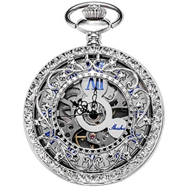 機械式 懐中時計 ホロー 銀の花の蔓 スケルトン ローマ数字表示[HB005-UKTW](シルバー)