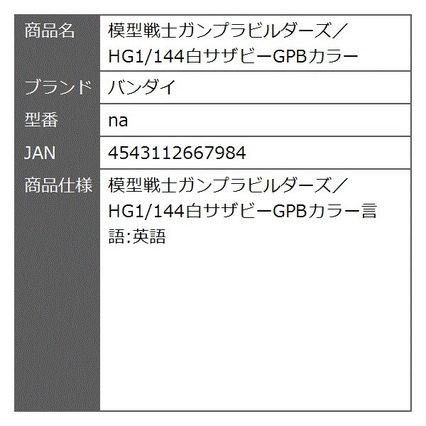 模型戦士ガンプラビルダーズ/HG1/144白サザビーGPBカラー[na]|zebrand-shop|02