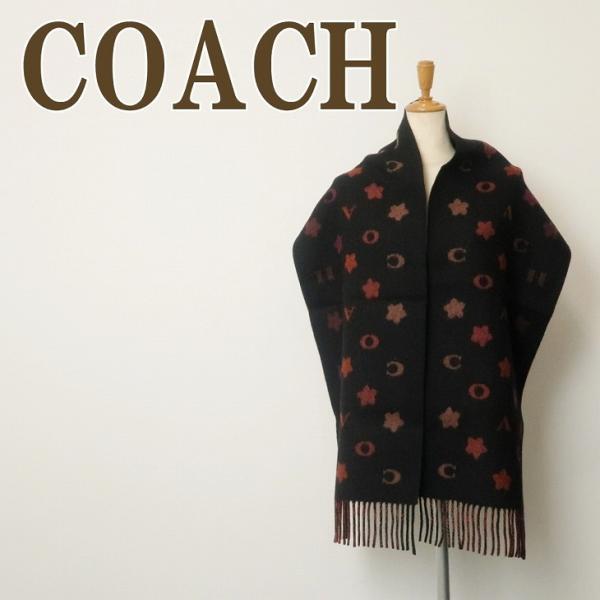 コーチ COACH マフラー レディース 花 フローラル ウール ブラック 黒 4623BLK|zeitakuya
