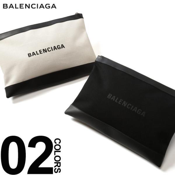 new style 829c0 c122a バレンシアガ BALENCIAGA クラッチバッグ キャンバス ロゴ プリント レザー NAVY CLIP L ブランド レディース メンズ 鞄  バッグ BC373840AQ3BN