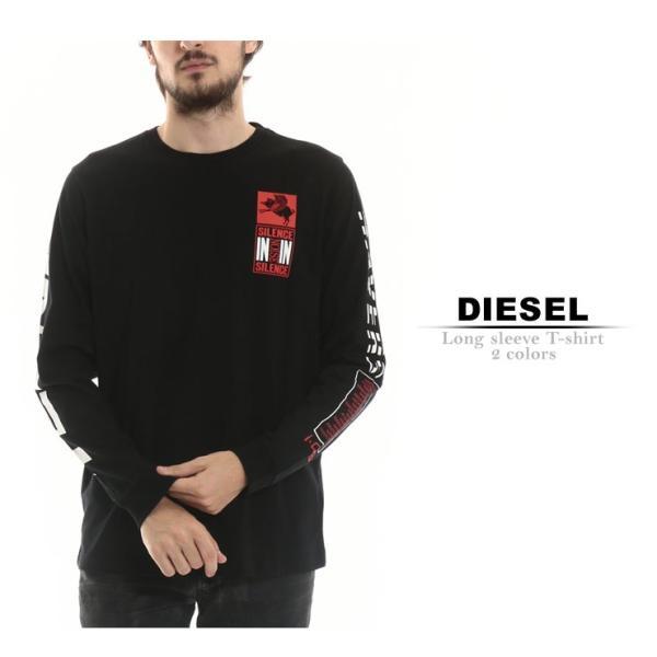 ディーゼル DIESEL Tシャツ 長袖 ロンT バックプリント 袖プリント クルーネック ブランド メンズ トップス DSSHCW091A t-shirt|zen|02