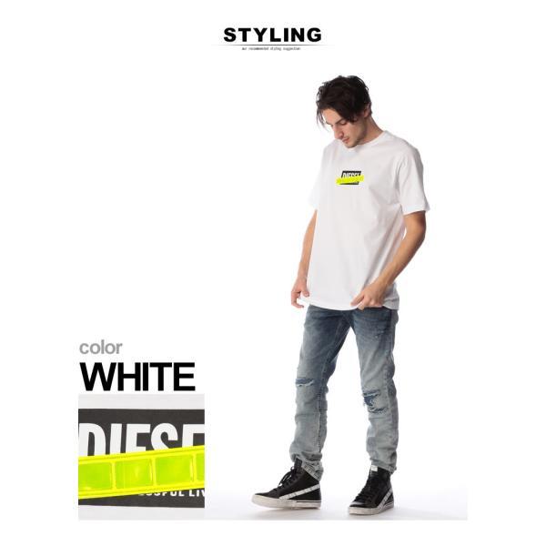 ディーゼル DIESEL Tシャツ 半袖 ロゴ プリント 蛍光テープ クルーネック ブランド メンズ トップス 反射板 DSSU2NPATI zen 03