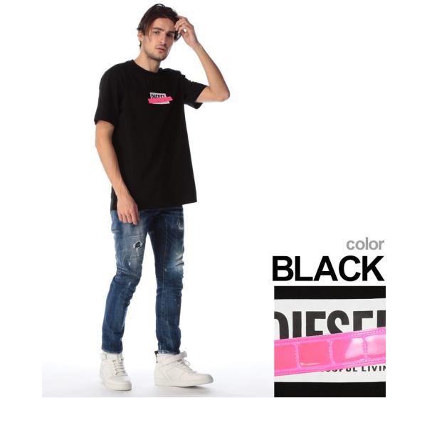 ディーゼル DIESEL Tシャツ 半袖 ロゴ プリント 蛍光テープ クルーネック ブランド メンズ トップス 反射板 DSSU2NPATI zen 04