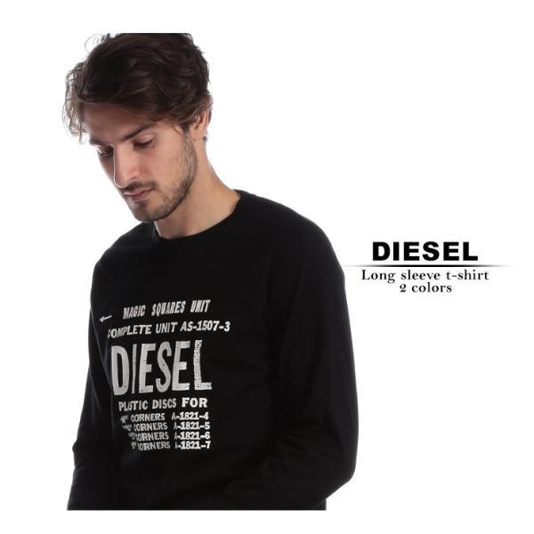 ディーゼル DIESEL Tシャツ 長袖 ロゴ プリント クルーネック ロンT ブランド メンズ トップス カットソー DSSCDT091A|zen|02