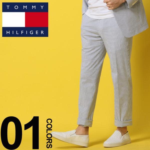 トミーヒルフィガー TOMMY HILFIGER シアサッカー ストライプ パンツ トラウザー スラックス メンズ TMASC004PANTS|zen