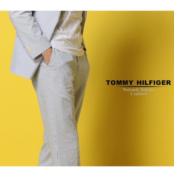 トミーヒルフィガー TOMMY HILFIGER シアサッカー ストライプ パンツ トラウザー スラックス メンズ TMASC004PANTS|zen|02