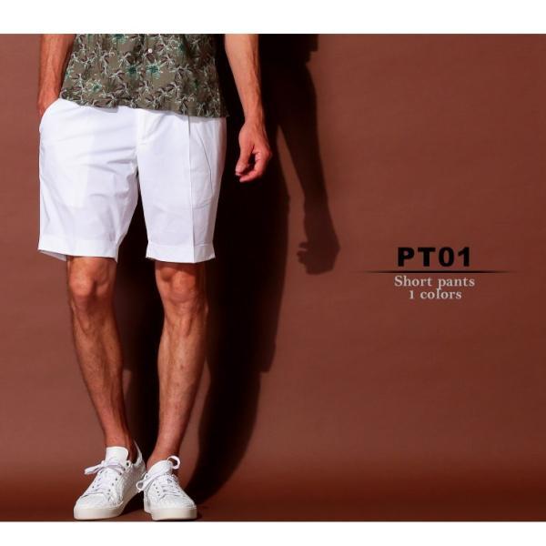 PT01 ピーティーゼロウーノ ショートパンツ コットン ワンタック ストレッチ WHITE ブランド メンズ ボトムス ショーツ バミューダ PTCBYS11Z20BP23|zen|02