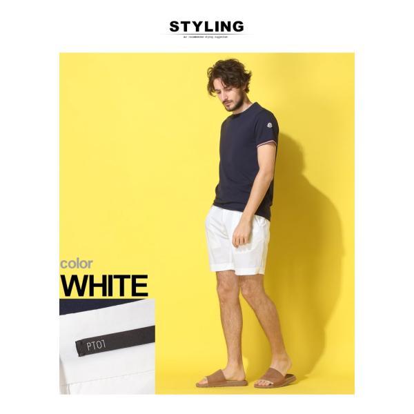 PT01 ピーティーゼロウーノ ショートパンツ コットン ワンタック ストレッチ WHITE ブランド メンズ ボトムス ショーツ バミューダ PTCBYS11Z20BP23|zen|03