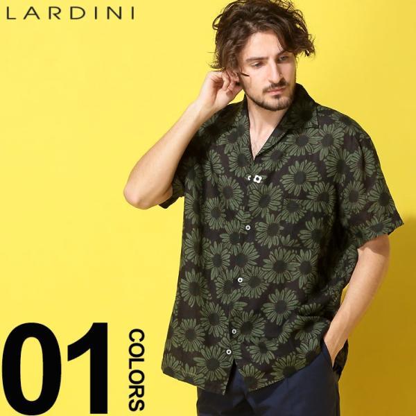 ラルディーニ LARDINI シャツ 半袖 麻100% オープンカラー フラワー ブランド メンズ トップス シャツ 柄シャツ 開襟 麻シャツ リネン LDGIANEGC1043 zen