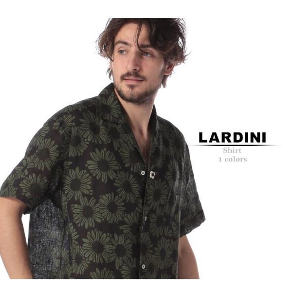 ラルディーニ LARDINI シャツ 半袖 麻100% オープンカラー フラワー ブランド メンズ トップス シャツ 柄シャツ 開襟 麻シャツ リネン LDGIANEGC1043 zen 02