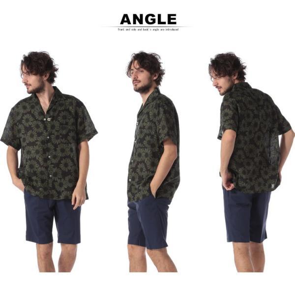ラルディーニ LARDINI シャツ 半袖 麻100% オープンカラー フラワー ブランド メンズ トップス シャツ 柄シャツ 開襟 麻シャツ リネン LDGIANEGC1043 zen 04
