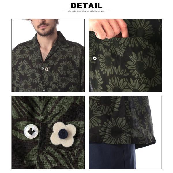 ラルディーニ LARDINI シャツ 半袖 麻100% オープンカラー フラワー ブランド メンズ トップス シャツ 柄シャツ 開襟 麻シャツ リネン LDGIANEGC1043 zen 05