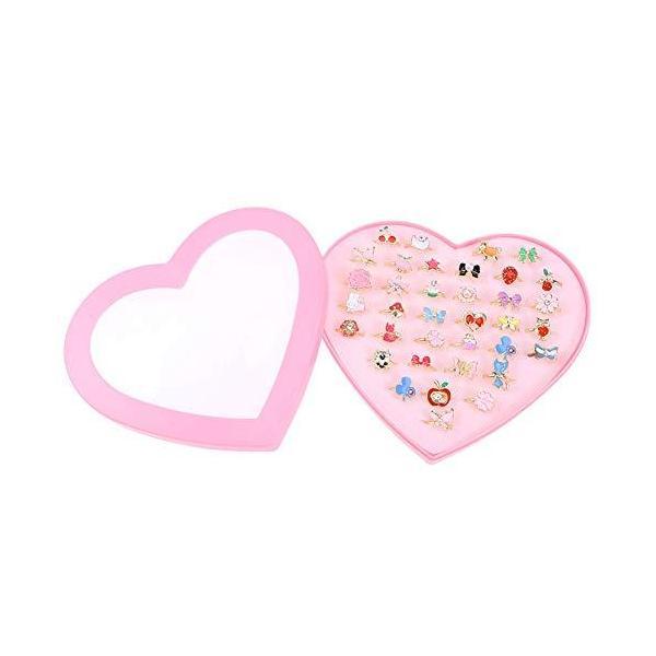 WINOMO指輪セットおもちゃ女の子リングかわいい指輪サイズ調節でき36個セット