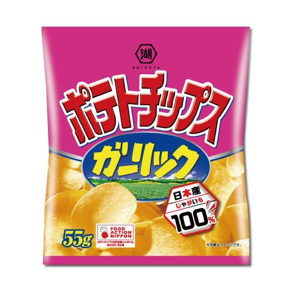 湖池屋ポテトチップス ガーリック味 55g入×12袋 1ケース 【6ケースまで1個口送料でお届けが可能です】