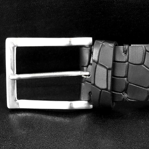 日本謹製メンズベルト クロコダイル型押し ソフトマット仕上げ ブラック 135100-10 ギフト プレゼント zennsannnet 02