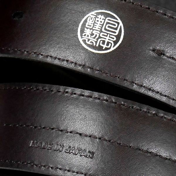 日本謹製メンズベルト オイルスムース革 センターステッチ ブラウン135101-70 ギフト プレゼント|zennsannnet|03