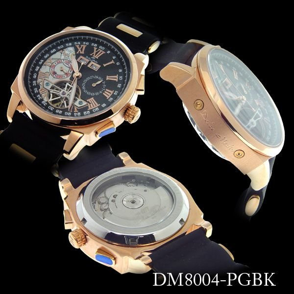 ドルチェ・メディオ Dolce Medio メンズ腕時計 自動巻き オートマチック マルチカレンダー DM8004-PGBK|zennsannnet|02