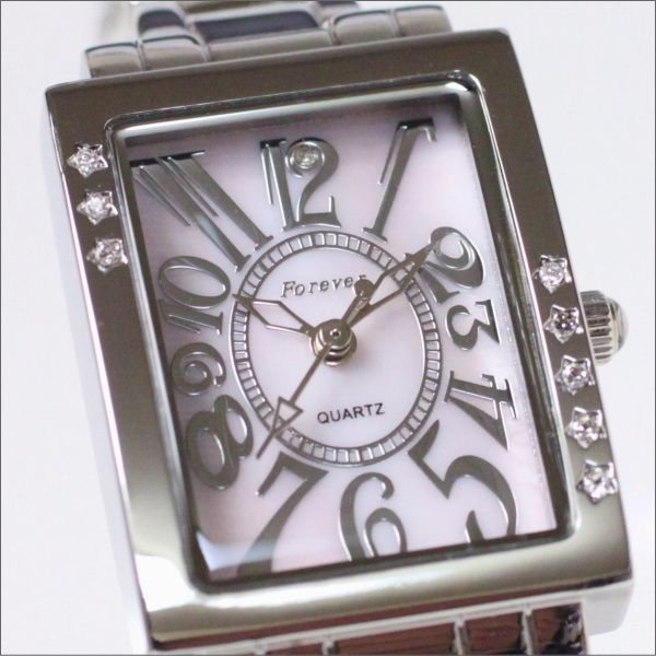 フォーエバー レディス腕時計 Forever  ピンクシェル文字盤 アラビアインデックス FL-2302