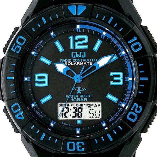 ソーラー電波時計 メンズ腕時計 シチズン Q&Q デジアナタイプ MD06-335 ブルー|zennsannnet|02