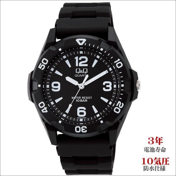 メンズ腕時計 シチズン Q&Q スポーツ 10気圧防水 ブラック ホワイトインデックス VR44-001|zennsannnet