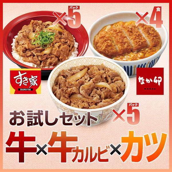 お試しセット 牛×牛カルビ×カツ すき家牛丼の具5パック×すき家牛カルビ丼の具5パック×なか卯かつ丼の具4食 冷凍食品