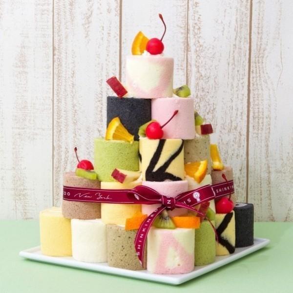 誕生日ケーキ バースデー パーティー 積み上げて楽しい ロールケーキタワー(キャンドル付き) お取り寄せ|zenzaemon