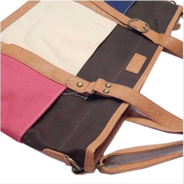 ムウマージュ キャンバス配色のトートバッグとショルダーバッグの2Way