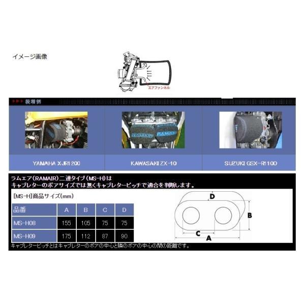 【あすつく対象】ゼファー1100(ZEPHYR) エアーフィルター MSシリーズ ツインタイプ(キャブピッチ82mm以下) RAMAIR(ラムエア)|zerocustom|04