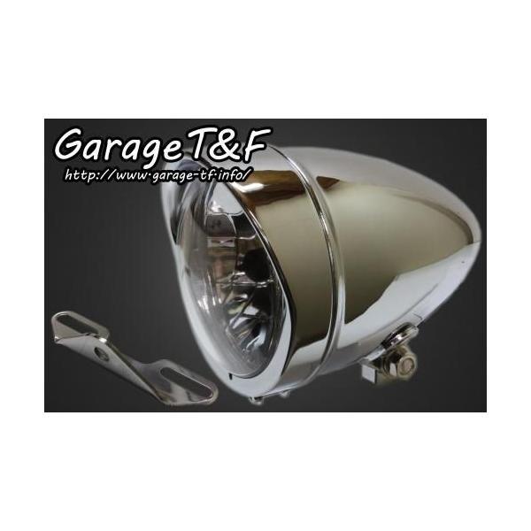 イントルーダー400クラシック(〜08年) 4.5インチロケットライト(メッキ)&ライトステー(タイプB)キット ガレージT&F zerocustom