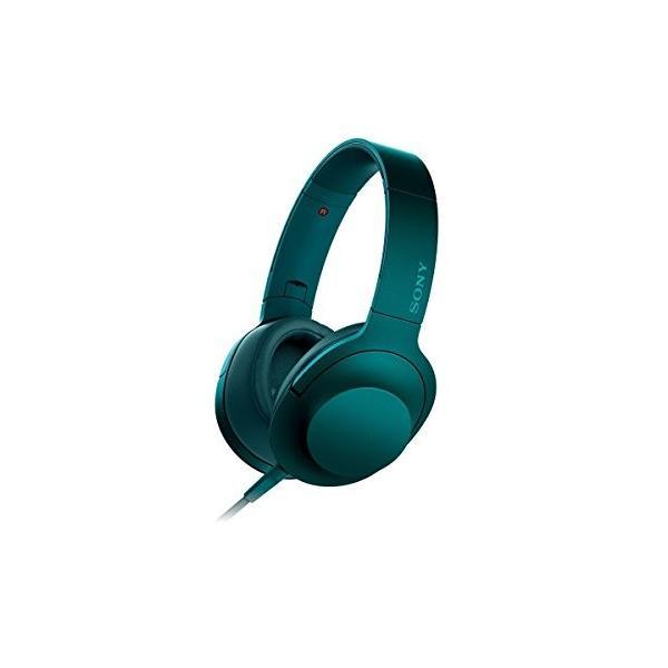 ソニー SONY ヘッドホン h.ear on MDR-100A : ハイレゾ対応 密閉型 折りたたみ式 ケーブル着脱式/バランス接続対応 マイク付き ビリジアンブルー MDR- 中古商品